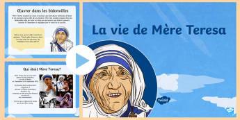 PowerPoint Mere Teresa  - Mere Teresa, personnage historique, béatification, histoire,French