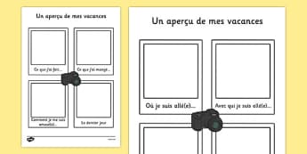 Un aperçu de mes vacances - french, my holiday, snapshot, writing frame, writing, frame, holiday