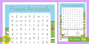 A1 Sopa de letras: Los animales de la granja en inglés - farm, animals, lengua extranjera, English, inglés, ,Spanish-translation