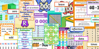 LKS2 Maths Number Display Pack - lks2 maths, number, display pack, display