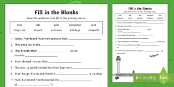 Up, Up and Away! Fill in the Blanks Activity Sheet - aistear, exploring my world, story, literacy, oral languages, worksheet, airport, travel, aeroplane,