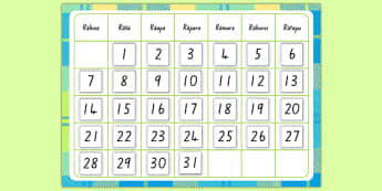 Monthly Calendar Cut and Stick Template - days of the week, te reo māori