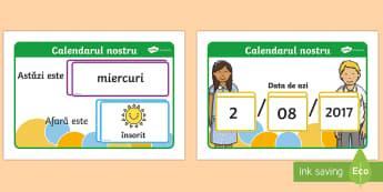Calendar cu ziua, data și starea vremii  - calendarul clasei, calendar, zi,data, vremea, starea vremii, jocuri, decorul clasei,Romanian