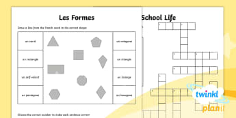 French: School Life Year 5 Home Learning Tasks