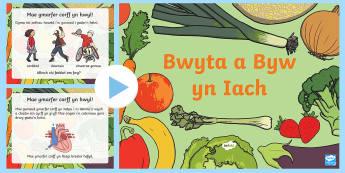 Pŵerbwynt Pŵerbwynt CS Bwyta a Byw yn Iach - Diwrnod Iechyd y Byd, plat bwyta'n iach, World Health Day, bwyd, iechyd, gwrando ar syniadau,llafar, llysiau, ffrwythau, iach, iachus, dgwyddiadau blynyddol.,Welsh