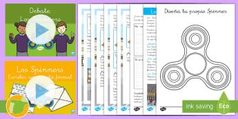 Pack de recursos: Los 'Spinners' - comprensión, Spinner, fidget spinner, presentación, fichas, diseño, colorear, colores, colorea, l