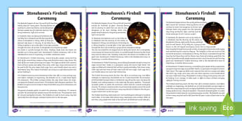 Stonehaven's Fireball Ceremony Differentiated Fact File - New Year, Hogmanay, Fire Festival, Scottish, Scotland, Events, Traditions,Scottish