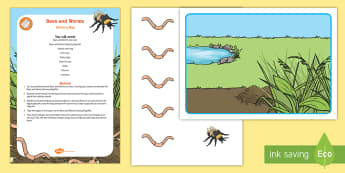 Bees and Worms Sensory Bag - Maths, Mathematics, Height, Sensory Play, Long, Short, High, Low, bugs, minibeasts, insects