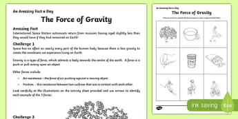 The Force of Gravity Activity Sheet, worksheet