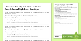 GCSE Poetry Edexcel-Style Sample Exam Questions to Support Teaching on 'Hurricane Hits England' by Grace Nichols - GCSE English Literature, Time and Place Cluster, Edexcel Poetry, Poetry Exploration, Exam Practice,