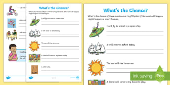What's the Chance? Activity Sheet - Australian Curriculum Statistics and Probability, KS1, chance, will happen, Worksheet, might happen,