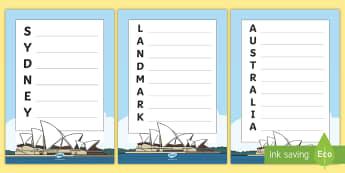 Sydney Opera House Acrostic Poem - Australian landmark, Australian geography, poetry, literacy, Australian history