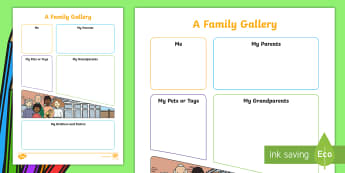 EYFS A Family Gallery Activity Sheet - first week back, all about me, activities, families, favourites, Worksheet