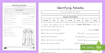 Identifying an Adverb Differentiated Activity Sheets - Parts of Speech, Language, English, grammar, vocabulary, word work.
