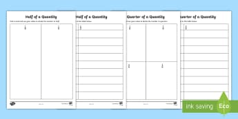 Halves and Quarters Activity Sheets - worksheets, ROI-Maths resources halves and quarters, fractions, practical maths, first class, second