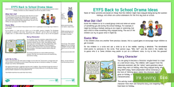 EYFS Back to School Drama Teaching Ideas - group activities, foundation stage, after the holidays, mime, new class, new year