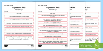 CfE Expressive Arts (Art and Design) First Level Child Friendly Tracking-Scottish - Child Friendly Tracking CfE, tracker, EXA, curriculum for excellence, 1st level, progression, I can,