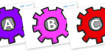A-Z Alphabet on Cogs - A-Z, A4, display, Alphabet frieze, Display letters, Letter posters, A-Z letters, Alphabet flashcards