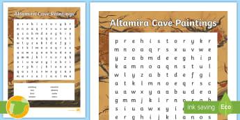 ES Altamira Cave Paintings Wordsearch Activity Sheet - Altamira, stone age, prehistory, Spanish history, Palaeolithic, cave paintings, worksheet
