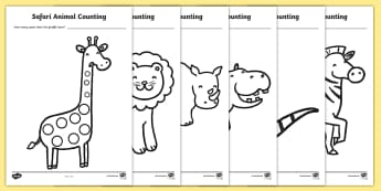 Safari Animal Patterns Counting Worksheet / Activity Sheets- safari, safari counting, safari counting worksheets, safari animal patterns, count the animals spots, counting