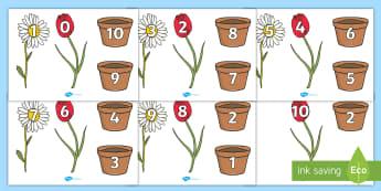 写在鲜花和花盆上的10以内数字 - 数字,10以内数字,鲜花,花盆