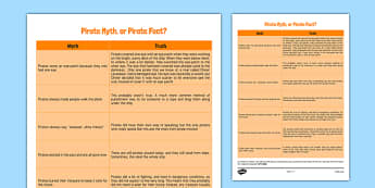Pirates Truth Behind the Myth CfE First Level - History, Social Studies, Past Events, Myth, Truth