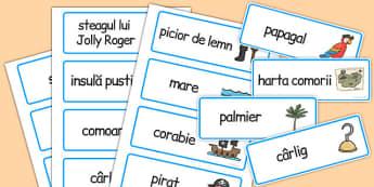 Pirați - Cartonașe cu imagini și cuvinte - pirati, pirat, imagini, cuvant, joc, limba română, comunicare, cartonașe, romanian, materiale, materiale didactice, română, romana, material, material didactic