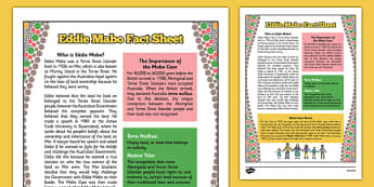 National Reconciliation Week Eddie Mabo Fact Sheet - australia, National Reconciliation Week, Eddie Mabo, factsheet, land, rights, ownership, Mabo case