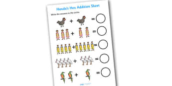 Handas Hen Addition Sheet - handas hen, addition sheet, handas hen addition, numeracy, maths, addition worksheet, numbers, adding, handas, hen, worksheet