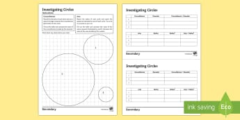 Discovering Pi Activity Sheets - Pi, Area, Circumference, perimeter, ratio, 3.14, circles, KS4, KS3, investigation, worksheet,