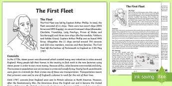 The First Fleet Fact Sheet - Discovery of Australia, Australian History, Australian Colony, Settlement of Australia, Guided Readi