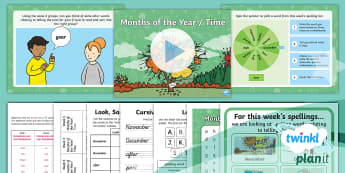 PlanIt English Y2 Term 3B W5: Months of the Year/Time Spelling Pack - Year 2, proper nouns, time words, telling the time, measures of time, time vocabulary, spelling pack