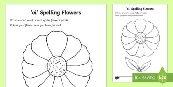 'oi' Sound Spelling Flowers Worksheet / Activity Sheet - jolly phonics, phoneme, phonics, activity, game, letters and sounds, phase 3,Scottish, Worksheet