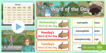 Year 6 Spring 1 Word of the Day Display Pack - spag, SPaG, sats, spellings, UKS2, nouns, adjectives, adverbs, verbs, multisyllabic words.