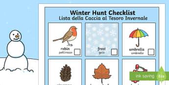 Winter Hunt Checklist English/ Italian  - Winter Hunt Checklist - winter, hunt, winter hunt, checklist, can you see, sensory walk, winter sens