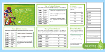 Tour of Britain Maths Challenge Cards