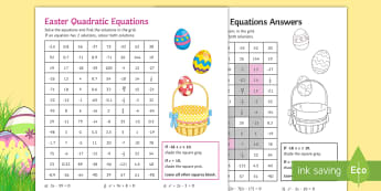 Easter Solving Quadratic Equations Mosaic - quadratic, solve, equation, GCSE, easter, factorise, worksheet, colouring