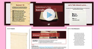 Valentine's Day Writing a Sonnet Pack - Valentine's Day, Shakespeare, Sonnet, Sonnet 18, Shall I compare thee to a summer's day, structure, form, writing, creative, love, poetry