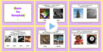 Guess the Homophone PowerPoint - homophone, guess, powerpoint, homphones