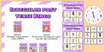 Irregular Past Tense Spinner Bingo - SLI (specific language impairment), grammar, EAL, language disorder, Language delay