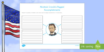 Abraham Lincoln's  Biggest Accomplishments Writing Worksheet / Activity Sheet - American Presidents, American History, Social Studies, Barack Obama, Lyndon B. Johnson, Franklin D.