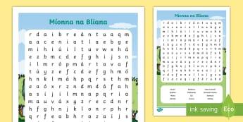 Cuardach Focal: Míonna na Bliana - Wordsearch, cuardach focal, months of the year, míonna na bliana, Irish