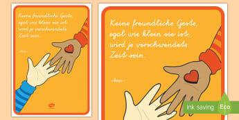 Freundliche Geste Motivierendes Poster für die Klassenraumgestaltung - Motivation, Inspiration, Deko, Klassenraum, Freundlichkeit, Kommunikation,,German