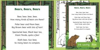 Bears, Bears, Bears Rhyme - bears, rhyme, poster, display