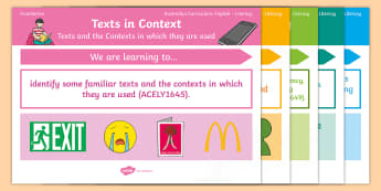 Australian Curriculum English: Foundation Year Literacy Content Descriptions Display Posters - Learning Intention, ACARA, WALT, Learning Objective, Learning Goal, Goals, Content Descriptors, Lite
