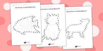 Counting in 2s to 20 Dot to Dot Sheets Animals - dot to dot