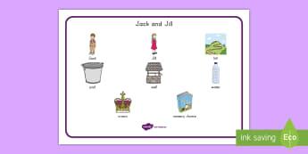 Jack and Jill Word Mat -  nursery rhyme, nursery rhyme vocabulary, Visual Vocabulary Representation