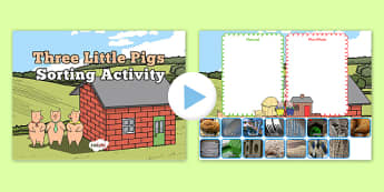 The Three Little Pigs Interactive Sorting Activity - three little pigs, interactive, sorting, activity