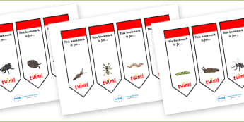 Editable Minibeast Bookmarks - Bookmark, bookmark template, fantasy, gift,  present, book, reward, achievement, minibeast display, Minibeasts, Topic, Foundation stage, knowledge and understanding of the world, investigation, living things