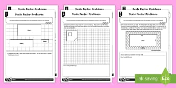 Scale Factor Problems Differentiated Activity Sheets - Ratio and Proportion, scale factor, scale factors, ratio, problem solving, shape problems, enlargeme